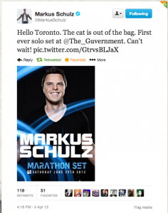 Markus Schulz Marathon Set Toronto Announced