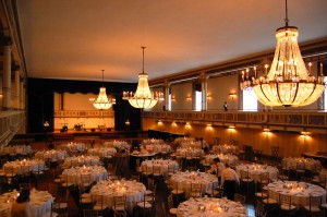 This is what the Statler City Golden Ballroom typically looks like for weddings.
