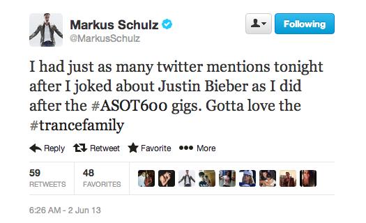 Markus Schulz Justin Bieber Tweet
