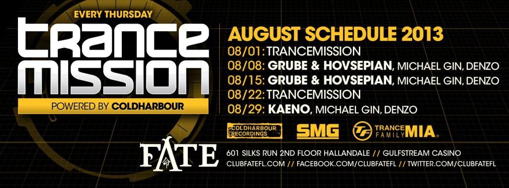 August 2013 Club Fate Trance Mission Thursdays Club Fate